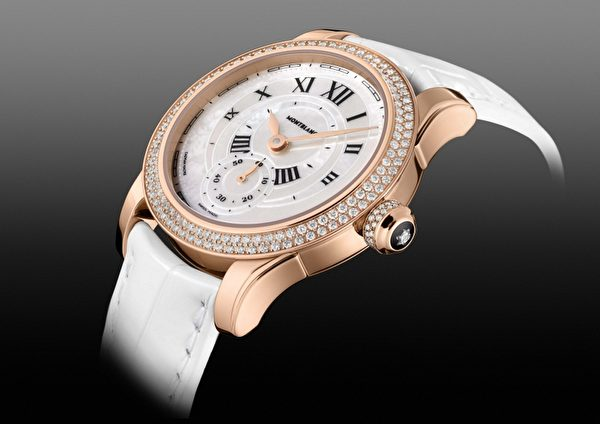 Villeret 1858系列经典小三针珠宝女表,全台限量1只,NT$188万元。(万宝龙提供)