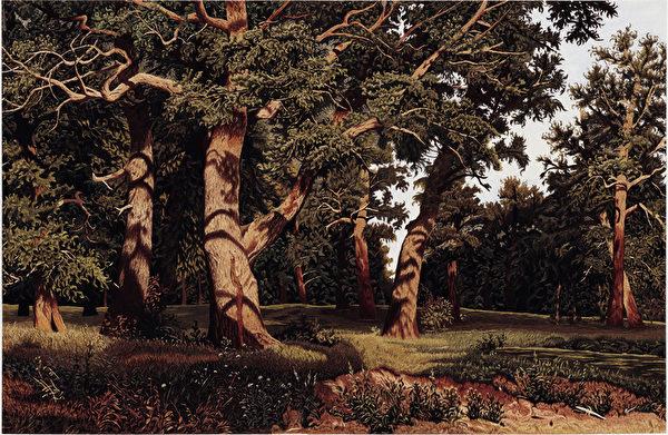 仿 希什金《橡树林》(图片来源:凤甲美术馆提供)