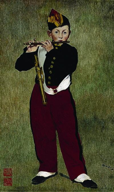 仿 马奈《吹笛少年》(图片来源:凤甲美术馆提供)