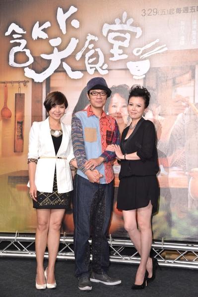 《含笑食堂》演員(由左至右)為:琇琴、吳朋奉、苗可麗。(圖/三立提供)