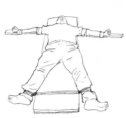酷刑示意圖:法輪功學員被綁成「大」 字型固定在床上,也叫「死人床」(圖片來源:明慧網)