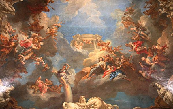 凡爾賽宮一穹頂壁畫。(攝影:章樂/大紀元)