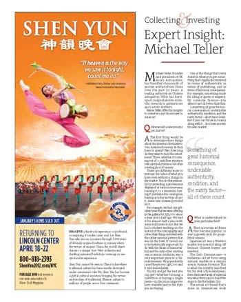 「紐約新聞協會」評價《大紀元》「紐約亞洲周」說:「高雅與適當的廣告設計開啟一頁又一頁精湛的文章和攝影。」圖為特刊中對神韻演出的介紹。(大紀元)
