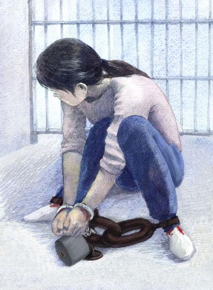 中共酷刑示意图:锁地环(图片来源:明慧网)