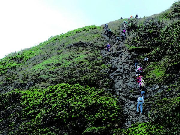 臺灣最後的原始海岸線阿朗壹古道位於屏東縣境,旭海觀音鼻自然保留區陡峭的古道,必須靠繩子攀爬上去。(攝影:王鏡瑜/大紀元)