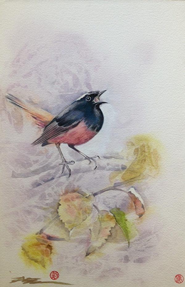 《鸟儿》,2013,55X36CM,压克力