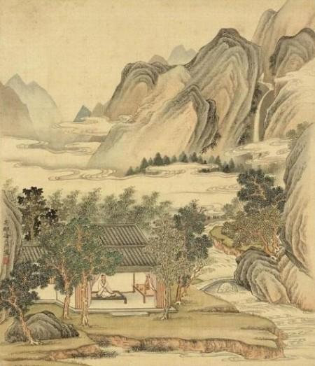 清 徐天序 山水画〈坐禅〉国立故宫博物院 藏。(公有领域)