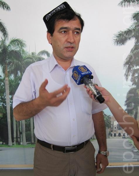 世界维吾尔族大会亚洲区副主席依里哈木。(摄影:钟元/大纪元)