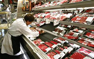 据统计,美国牛肉批发价格五月上旬涨至史上最高。图为纽约超级市场的贩售牛肉的冷藏柜。(Spencer Platt/Getty Images)