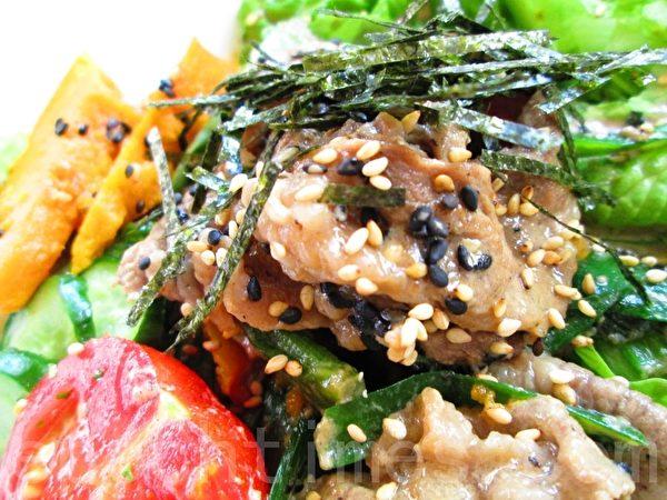 五蔬肉片香醋沙拉餐(摄影:家和/大纪元)