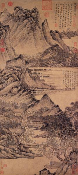 元 王蒙 花溪渔隐 轴。(故宫博物院提供)