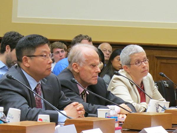 中国公民力量创始人杨建利(左一)在国会听证会上宣读了天安门母亲丁子霖的一封呼吁信。(摄影:林宇/大纪元)