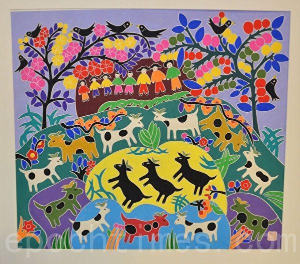 将在中国节展出的金山农民画原作(摄影:良克霖/大纪元)