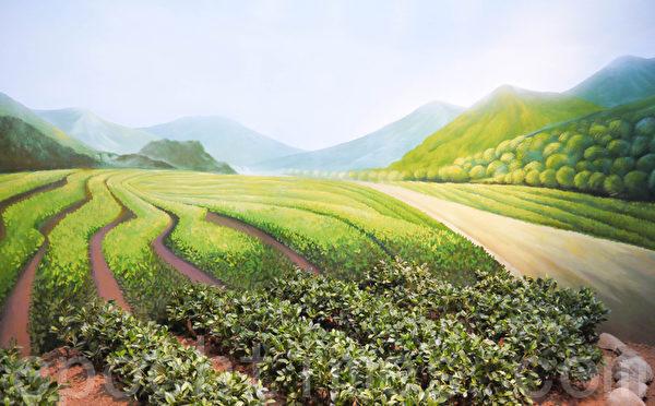 梅山鄉農村文化館立體茶園造景模型(攝影:顧惠玲/大紀元)