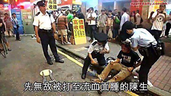 6日晚上,為法輪功仗義執言的陳先生遭暴徒毆打得頭破血流的情況。(網絡圖片)