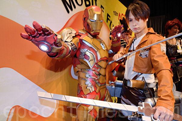 Cosplay造型-鋼鐵人是最近熱門人物。(攝影:宋祥龍/大紀元)
