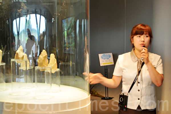 全谷里先史博物馆的解说员介绍说这里展出的手斧是30万年前旧石器时代使用的工具 (摄影: 明国/大纪元)