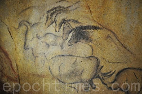 全谷里先史博物馆按真实比例仿造了多个国家岩洞发现的洞穴壁画 (摄影: 明国/大纪元)