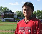 台灣棒球名將林子偉加入紅襪小聯盟的Lowell Spinners。(攝影﹕馮文鸞/大紀元)
