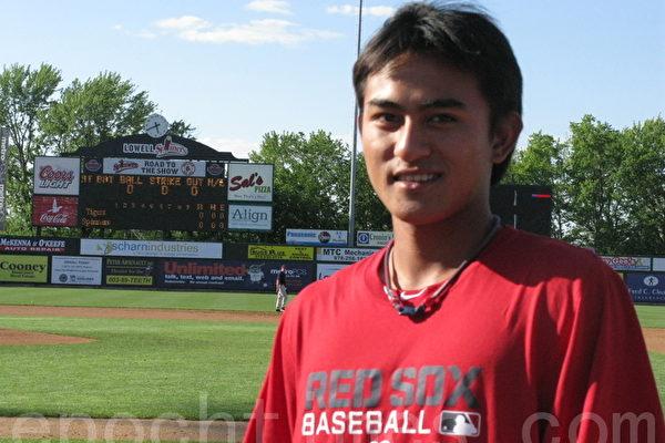 台湾棒球名将林子伟加入红袜小联盟的Lowell Spinners。(摄影﹕冯文鸾/大纪元)