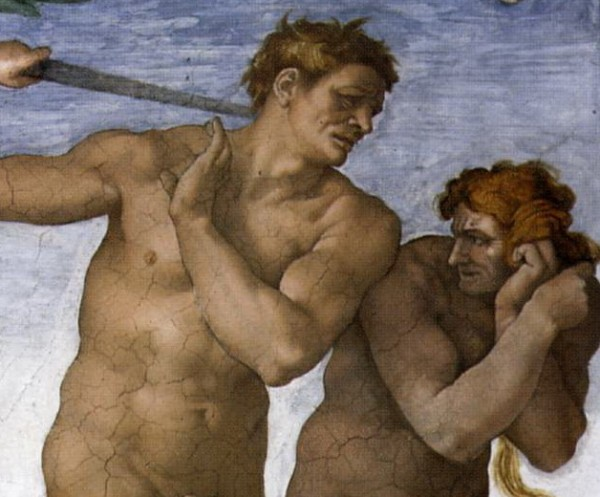违反禁令被逐出伊甸园的亚当、夏娃变得丑陋。