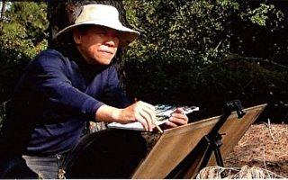 台湾名水彩画家洪东标。56岁那年的生日他立下宏愿,耗时56天,以机车环游台湾海岸,留下100多幅美丽的写生记录,更创台湾画界之先。(图片提供:洪东标)