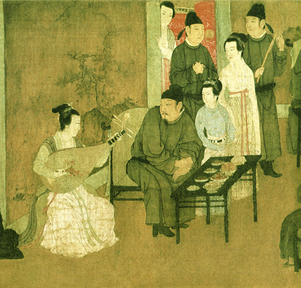 顧閎中《韓熙載夜宴圖》局部-彈琵琶