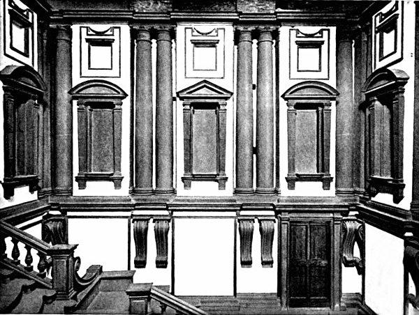 《罗伦左图书馆》的玄关(图﹕维基百科),垂直高耸的空间给人庄严肃穆之感。窗、柱与大阶梯给人建筑外观的错觉。