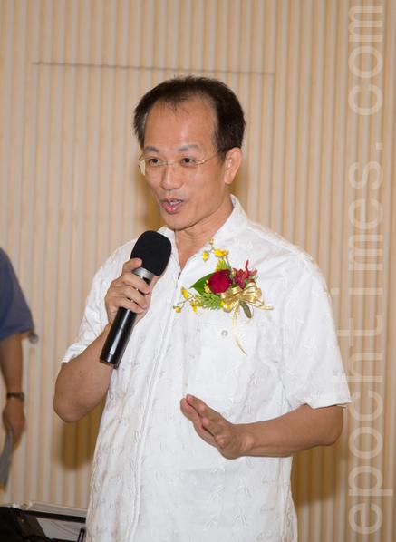 """台湾国展委员会主任林富男,""""美学不是自然形成的,要用心去铺成,也是大家共同努力的成果。""""(郑顺利/大纪元)"""