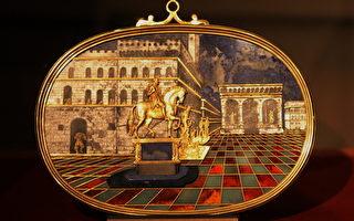 大公工作坊 Bernardino Gaffuri和Jaques Bylivelt作,领主广场全景图,1599-1600,18x25.5公分,掐丝彩石马赛克(青晶石、玉髓、鸡血石、水晶、玛瑙、镀金铜线、金),佛罗伦斯碧堤宫。(章乐/大纪元)
