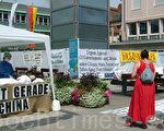 今年是第102届瓦格纳歌剧节。当地法轮功学员向来自世界主流社会人士揭露中共活摘法轮功学员器官,征集反迫害签名。图为中共活摘器官手术模拟演示台(摄影:李顺/大纪元)