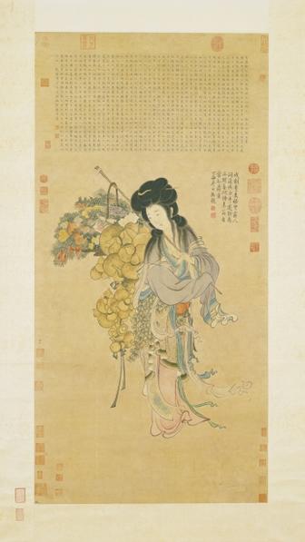 傳宋 馬和之 畫麻姑仙像。(國立故宮博物院)