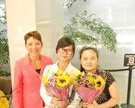 美國的女權無疆界組織主席瑞潔和安妮、張儒莉在舊金山國際機場(女權無疆界組織提供)