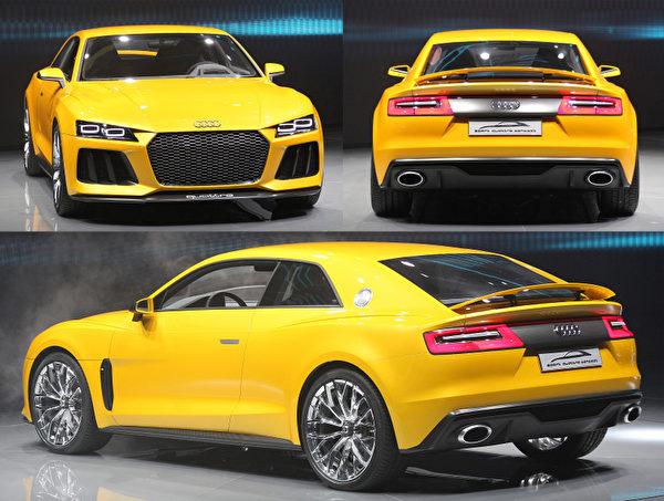德國法蘭克福,第65屆法蘭克福國際車展中展出的奧迪混合動力概念車Quattro。本屆車展,共有來自35個國家的1000多家相關廠商參展,本月12日至22日期間對公眾開放。(DANIEL ROLAND/AFP)