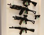 DESI展中的各式枪支。号称世界规模最大的DESI展,将持续到本周五(13日)。(Peter Macdiarmid/Getty Images)