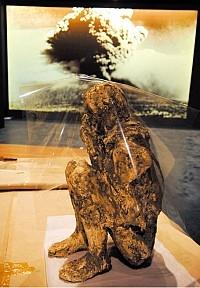 大英博物館展出的龐貝城人體遺跡。(AFP)