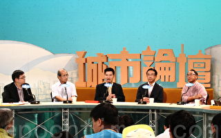 香港立法会议员范国威(中)认为,自由行旅客数量已超出香港承载力,一签多行政策导致水货客出现,促请政府取消。(蔡雯文/大纪元)