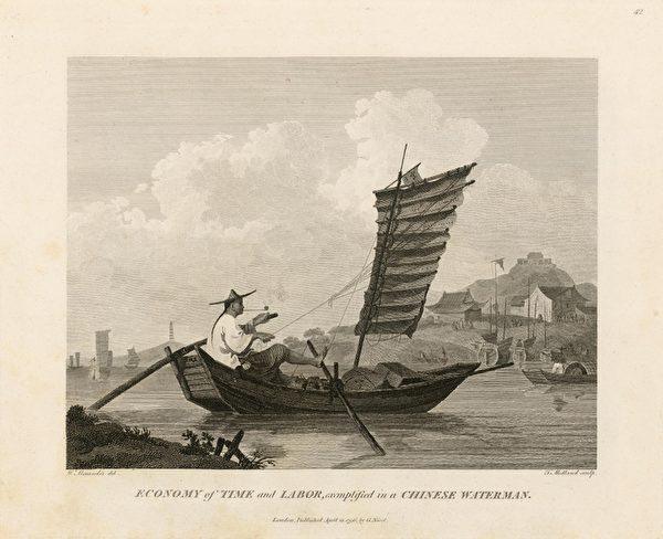 《省时省力的中国渔夫》-智慧的中国人总是能想出很多方法来提高工作效率,画中的这名渔夫让亚历山大感到惊讶,他左手摇橹,右手控制风帆,右脚踩桨,一个人就操控了整艘帆船,同时还悠闲的叼着烟斗。(顽石创意提供)