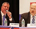 民主党市长参选人白思豪(Bill de Blasio)和共和党参选人洛塔(Joe Lhota)。(杜国辉/大纪元)