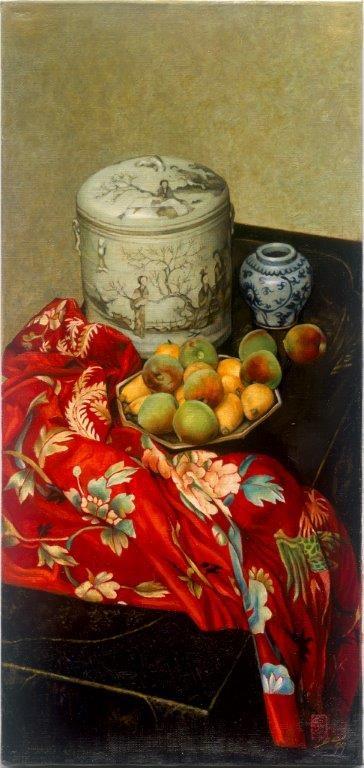 桃子與刺繡。(李惠芳提供)