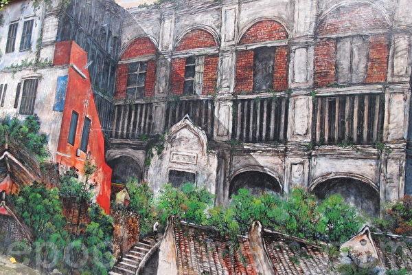 白樓已消失,淡水文化基金會請畫家蕭進興,完成20公尺壁畫,重現當年風貌。(施芝吟 /大紀元)