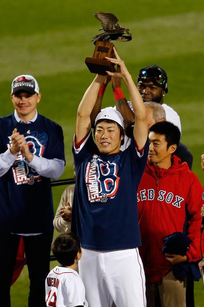 上原浩治获选为美联冠军战MVP。(By: Jim Rogash / Getty Images Sport)