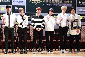 TEEN TOP团员(左起)创造、天地、Ricky、L.Joe、Niel、C.A.P资料照。(丘普林/大纪元)