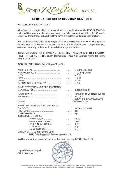 頂級冷壓初榨橄欖油在每年壓製完成後,應該進行當年度的品質檢測。除了不得含有任何添加物(檢測結果no use),還有每100公克橄欖油中不飽和脂肪酸之含量。這項檢測結果應該在瓶身標示,這樣消費者才能判斷油品的等級。(圖:大易美人提供)
