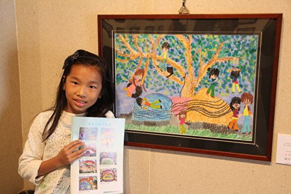低年級金牌獎得主楊宇棠(龍津國小),幼稚園中班起就在港區藝術中心學習幼兒美術,表現相當優異。(台中市港區藝中心提供)