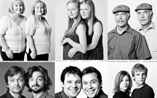 加拿大62歲的攝影師弗朗索瓦•布呂內勒從2000年起找到了200多對「非血緣雙胞胎」,其相似度均超過90%。(大紀元合成圖)