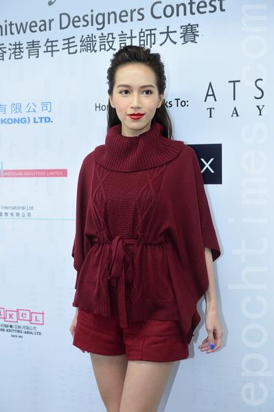 香港名模傅嘉莉12月3日在香港出席「青年毛織設計家大獎」記者會。(宋祥龍/大紀元)