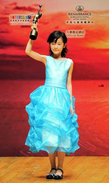 2009年4月19日,徐嬌憑電影《長江7號》獲第28屆香港電影金像獎最佳新演員獎。(Victor Fraile/Getty Images)