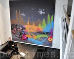 旅德青年艺术家谢璨羽在波昂大学餐厅的壁画相当吸睛 。最近1家德国建筑公司委托他创作,将他的作品透过 印刷科技打印到画布。巨幅打印画作成为活动壁画。 (谢璨羽提供)