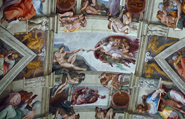 米開朗基羅在梵諦岡西斯汀教堂天頂上的留下的曠世巨作《創世紀》壁畫。(Fotopress/Getty Images)